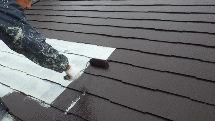 小田原市早川のK様邸 木造一戸建て|屋根の塗装工事(塗料:パラサーモ)