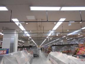 神奈川県藤沢市の某スーパーマーケット|天井の塗装工事(塗料:水性ビルデックNEO)