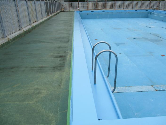 神奈川県藤沢市の某高等学校|遊泳施設(プール)の防水塗装工事(塗料:プールコート)