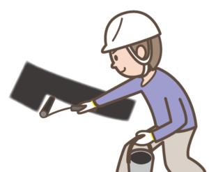 屋根の塗装工事中
