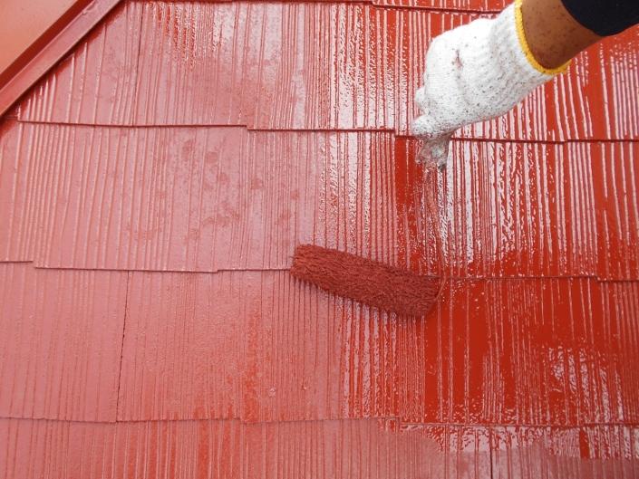 屋根の上塗り塗装(2回目)